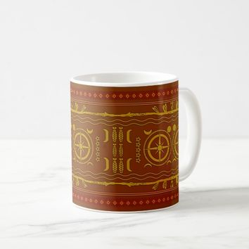 Chestnut Brown Golden African Symbols Pattern Mug
