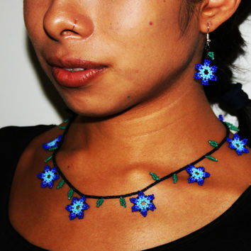 Huichol Necklace and Earring Set, Huichol Jewelry, Blue Flower Necklace, Small Jewelry Set, Native Beaded Jewelry, Hippie Jewelry Set