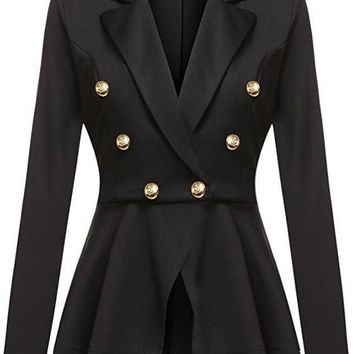 Black Irregular Pleated peplum peacoat Double Breasted Turndown Collar Long Sleeve Office Blazer
