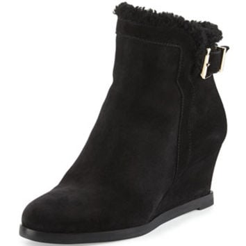Fendi Shearling-Lined Suede Wedge Bootie, Black