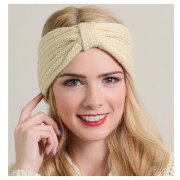 """""""Forever Style"""" Adorable Knit Ivory, Black or Charcoal Turban, Headband"""