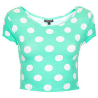 Spot Bardot Crop Top - Jersey Tops  - Clothing