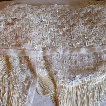 Vintage Triangular White Lacey Sequined Shawl with 5 Inch Fringe- Glam Special Occassion Wedding Evening Wear- Large Fancy Ladie's Wrap