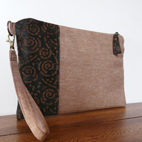 Leather Canvas clutch Large foldover clutch Handbag Wristlet Brown black oversized clutch