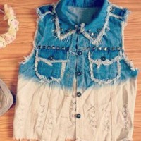 Sassy Girl - Cute Two Tone Denim Vest - Size: 6/8 Small/Medium - Smoky Mountain Boutique