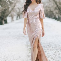 Alessia Rose Gold Sequin Maxi Dress