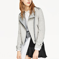 CROSSOVER PLUSH JACKET WITH ZIPS DETAILS