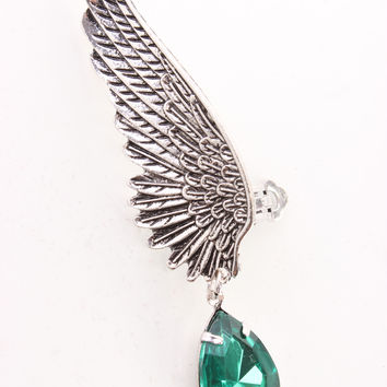 Green Detailed Wing Design rhinestone Accent Ear Cuff
