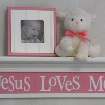 "PInk Nursery Decor - Jesus Loves Me -  Sign on 24"" Shelf Linen White and Pink Unique Christian Wall Art for Nursery"