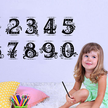 Training Figures Wall Decals Number Development Vinyl Decal Sticker Nursery C610