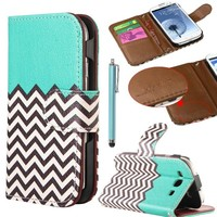 Samsung Galaxy S3 Case,ULAK Galaxy S3 Wallet Case,Galaxy S3 Leather Case Waves Wallet Stand Credit Card Holder Case + Screen Protector (Follow the sky)