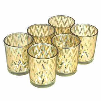 Chevron Votive Candle Holder Glass, 2-1/2-Inch, 6-Piece, Gold