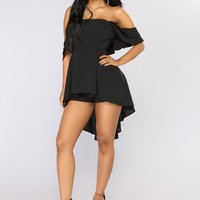 Crazy About You Sleeveless Romper - Black