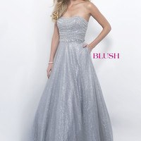Blush Strapless Beaded Pewter A-line Dress