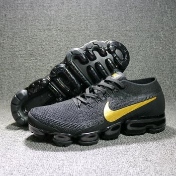 Nike 2018 Air Max Vapormax Flyknit Black And Yellow Women Men Running Sport Casual Sho