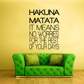 Wall Decal Vinyl Sticker Decals Hakuna Matata Lion King words sign Quote (z1466)