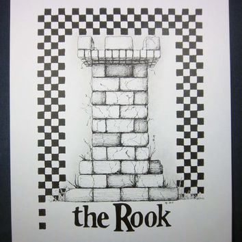 THE ROOK,  Chess Series: Original art, black and white art, architecture, pen and ink drawing, ink illustration, pen drawing 8x10