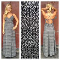 Black Cateye Print Maxi Dress