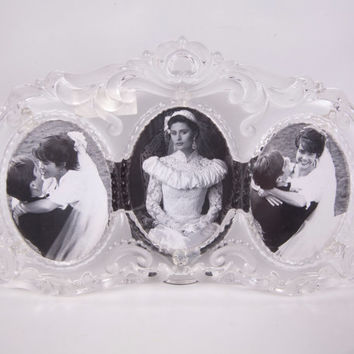 Vintage Mikasa Crystal Picture Frame Triple Oval Frosted Scroll Details Made in Germany