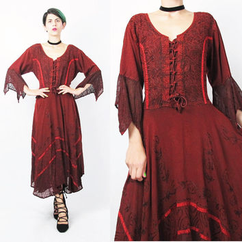90s Goth Red Witch Dress Ethnic Indian Dress Corset Sheer Embroidered Burgundy Red Dress Full Skirt Dress Tie Back Boho Folk Festival (M/L)