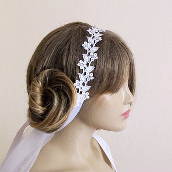 Lace wedding headband, hairband, ivory pearl Bridal, Headpiece, wedding Accessory, crystal, Bridesmaids,  bride, gift ideas,  etsy wedding