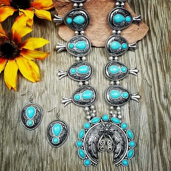 Large Feather Turquoise Squash Blossom Necklace
