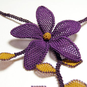 Lace flower necklace golden yellow violet purple by LandofDante