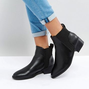 New Look Ribbed Flat Chelsea Boot at asos.com