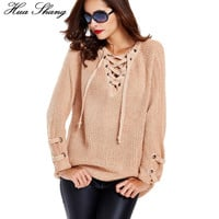 2016 Women Autumn Winter V-neck Lace Up Sweaters Knitwear Long Sweater Pullover Ladies Causal Loose Oversized Sweaters Jumper