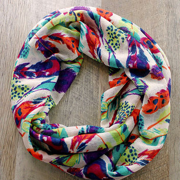 Bright Feathers Spring Infinity Scarf