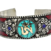 OM turquoise Cuff Bracelet