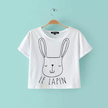 Summer Lovely Rabbit Pattern Round-neck Short Sleeve T-shirts [5013429316]