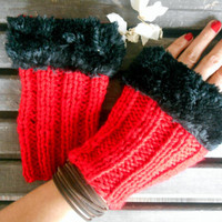 Knitted Gloves,Crochet Gloves,Red Gloves, Handmade,Fingerless Gloves,Winter Gloves, Knit Long Gloves,Women Gloves, Black Fake Fur,Gift Ideas