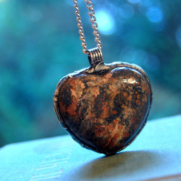 Heart necklace, JASPER necklace, heart jewelry, love necklace, love pendant, silver tin, earthy marble jewelry, statement pendant, gift