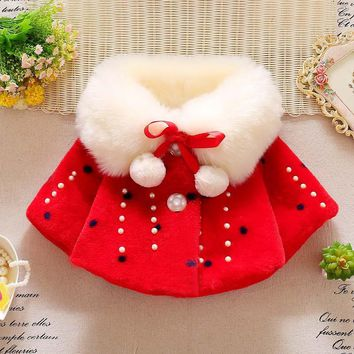 Winter Baby Girls Faux Fur Pearls Fleece Lapel Collar Infants Childrens Outerwear Princess Jacket Coats Snow Wear casaco