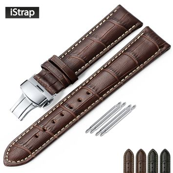 iStrap Genuine Leather Watchband Butterfly Buckle Bands Croco Grain Bracelet Watch sized in 12 13 14 16 17 18 19 20 21 22 24 mm
