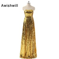 Gold Sequined Prom Dresses 2018 New Arrival African Dresses Long Sparkly Sequins Dress Red Carpet Dresses Evening Party Gown