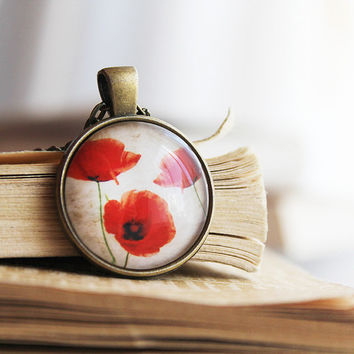 Poppy Pendant - Red Flower Necklace - Summer Jewelry - Poppy Art - Pendant Necklace