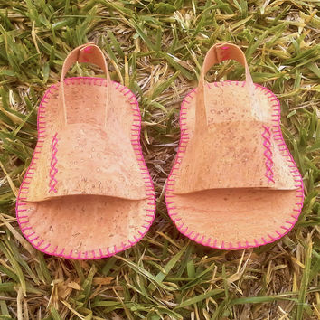 Baby sandals - Cork leather hand sew baby shoes - eco- vegan - extra light and soft