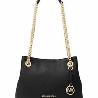 Michael Michael Kors Jet Set Medium Leather Shoulder Bag Black