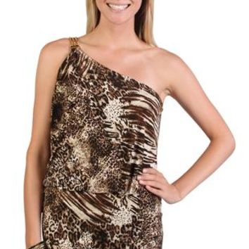 Chain One Shoulder Club Dress with Animal Print