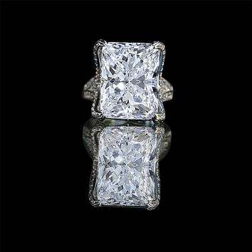 15ct. Radiant center hovering over fully double pave eagle claw style prongs ring 635r71648