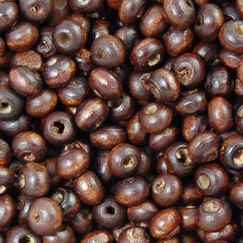 6x5mm Cocoa Brown Rondelle Wood Beads -500