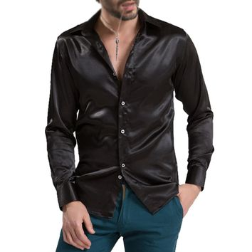 leisure Men's Clothing High-grade Emulation Silk Long Sleeve Shirts Men's Casual Shirt Shiny Satin 12-COLORS