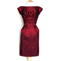 Taffeta Cap Sleeve Wiggle Dress