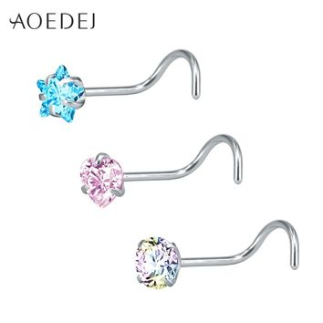 AOEDEJ 3 Pcs 1 Lot 20g Heart Nose Stud Piercing Rings Stainless Steel Star Nose Piercing Crystal Nose Stud l Shape Body Jewelry