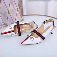 GUCCI new striped webbing low heel back sandals horsebit buckle pointed women's shoes white