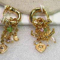 Vintage Gold Tone Kirk's Folly, Angels, Heart, Moon Charm Dangle Hoop Clip Earrings, 2""