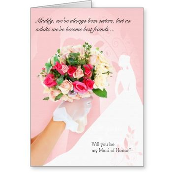 for Sister - Pink Maid of Honor Invitation Stationery Note Card