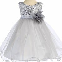Baby Girls Silver Sequin Party Dress w. Lettuce Tulle Hem 3-24m